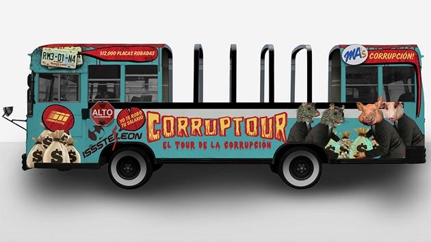 'Corruptour': un bus recorre escenarios de la corrupción en México para concienciar