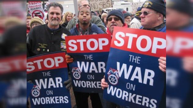Las protestas de los sindicatos se extienden de Wisconsin a Indiana