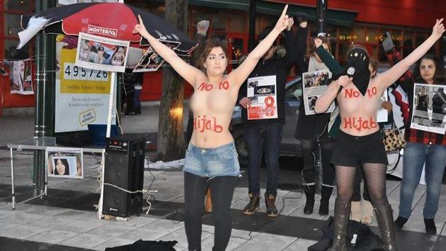 Activistas del Partido Comunista de Irán se desnudan en protesta por el hiyab