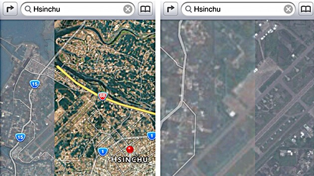 Apple 'desenmascara' en sus mapas los innovadores radares de Taiwán