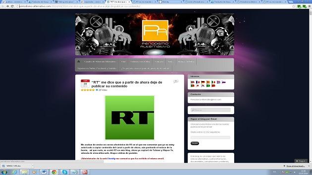 Blogueros que comparten material de RT reciben sospechosos avisos de advertencia