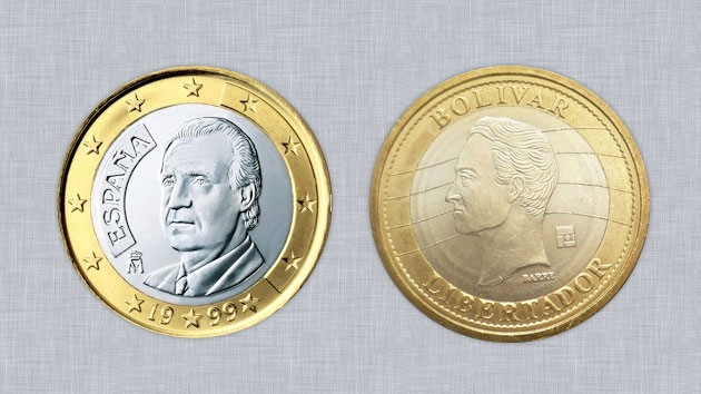 El bolívar fuerte, la moneda venezolana que suplanta al euro en España