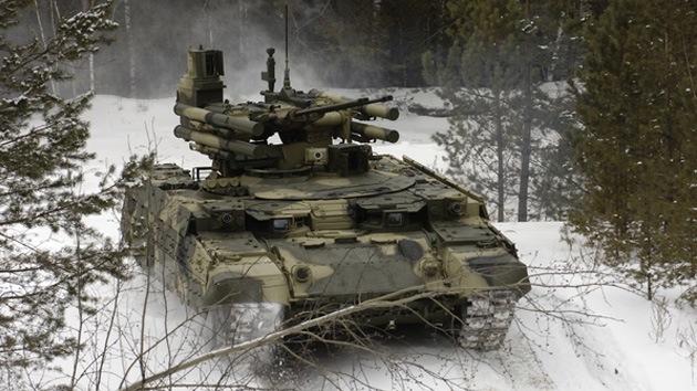 Fotos, video: 'Terminator', el innovador carro ruso de soporte para tanques