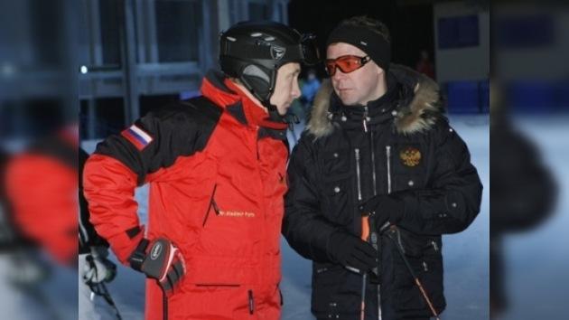 Putin y Medvédev esquiaron juntos cerca de Sochi