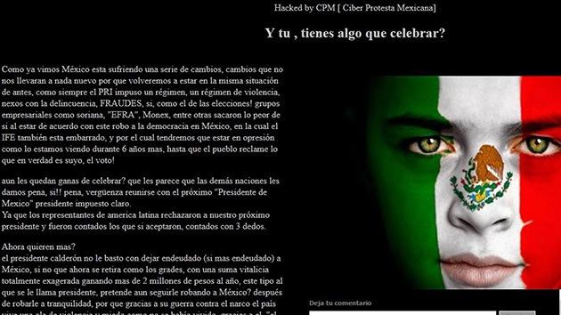 'Hackers' tumban páginas oficiales de México para protestar la victoria de Peña Nieto
