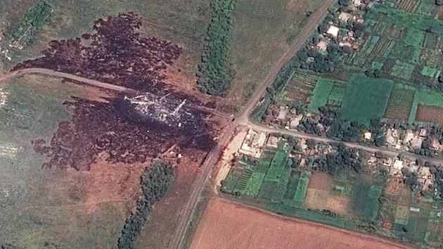 Imágenes de satélite del lugar del accidente del MH17 en Ucrania