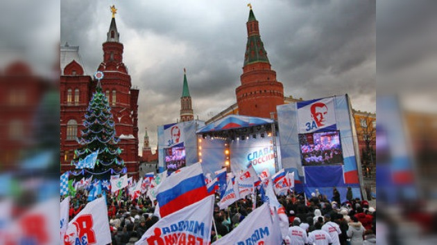 Miles de jóvenes se manifiestan a favor del partido Rusia Unida