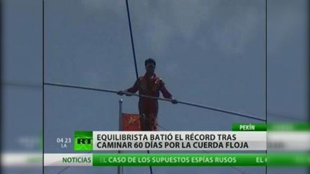 Un equilibrista chino consigue su sexto Guiness