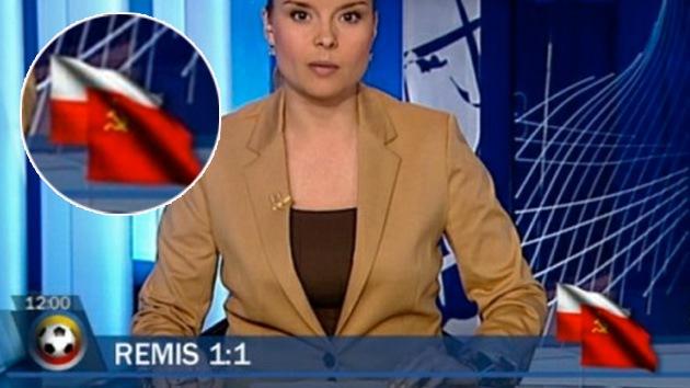 Televisión polaca confunde bandera rusa con la soviética