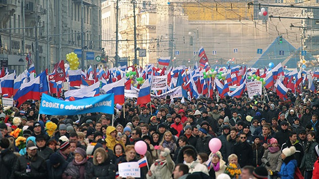 Rusia festeja el Día de la Unidad Popular con varias marchas