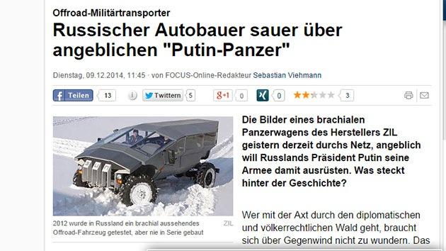 """Los medios occidentales, obsesionados con Putin y """"su nuevo tanque"""""""