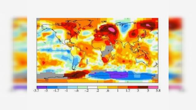 NASA publicó mapa de anomalías de temperatura de julio del 2010