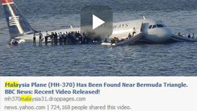 """""""El avión de Malasia fue hallado en el Triángulo de las Bermudas"""": Los 'hackers' se benefician de falsos enlaces de Facebook"""