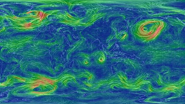 Crean un mapa de la Tierra que muestra las condiciones del viento en tiempo real