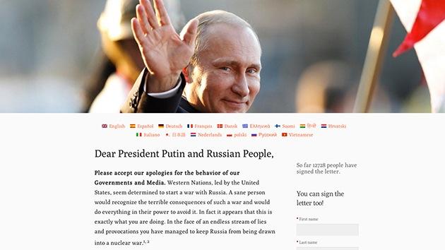 Miles de ciudadanos de EE.UU. y de Europa piden perdón a Putin en Internet