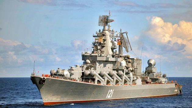 El crucero de misiles Moskvá asume el mando de la escuadra rusa cerca de Siria