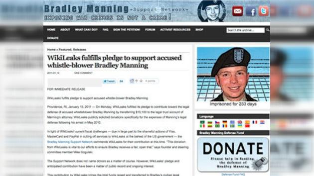WikiLeaks aporta 15.100 dólares al grupo de apoyo de su supuesto informador