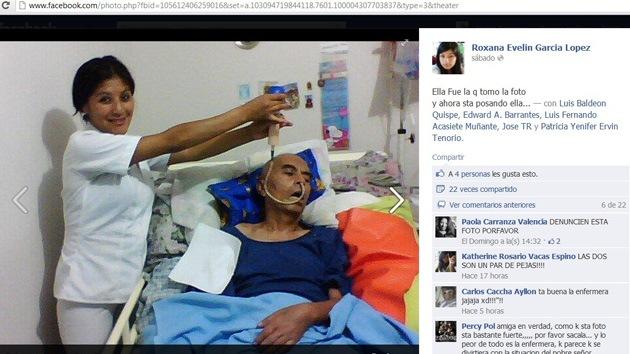La enfermera que publicó fotos suyas con un paciente terminal en Facebook indigna a Perú