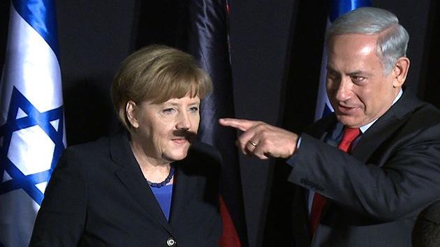 La foto de Merkel con bigote 'a lo Hitler' por la sombra de Netanyahu se viraliza