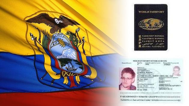 Ecuador dice que no reconoce el pasaporte mundial de Edward Snowden