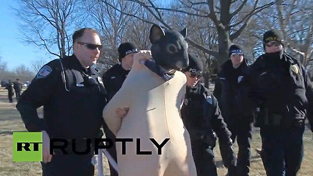 Video: Arrestan a una 'rata mutante' en la marcha anti-Monsanto en EE.UU.