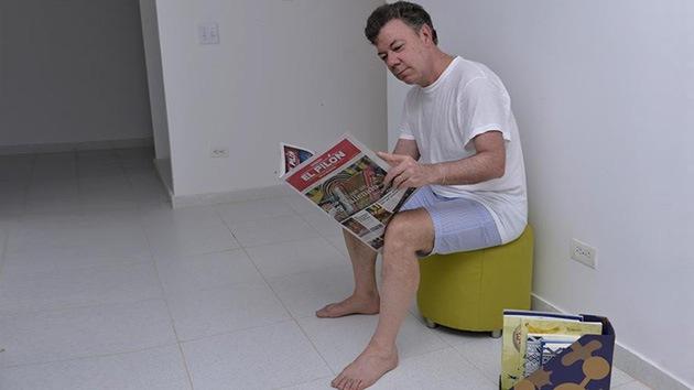 Fotos: El presidente de Colombia, en pijama tras dormir en una casa nueva para pobres