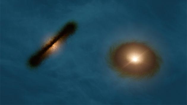 Hallan un par binario de estrellas con un extraño disco de formación de planetas