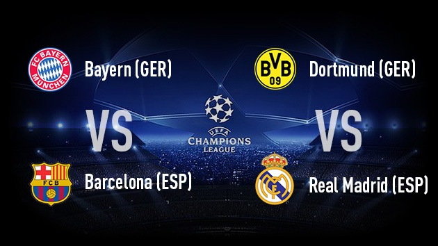 Semifinales de Champions League: Bayern vs Barcelona, Dortmund vs Real Madrid