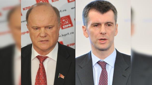 El candidato comunista Ziugánov  y el multimillonario Prójorov cuestionan las elecciones