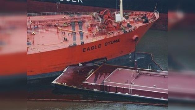 Vertido de petróleo en aguas del Golfo de México por un choque de barcos