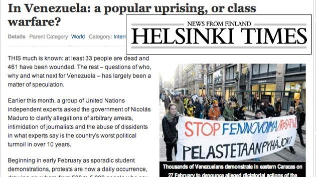 Un periódico finlandés ilustra su artículo de protestas en Venezuela con las de Helsinki