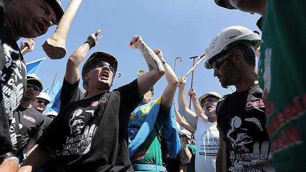 Las protestas de mineros cobran intensidad en España