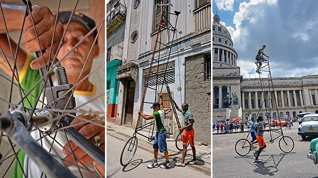 Ciclismo de altura en La Habana: un cubano crea una bicicleta de 8 metros