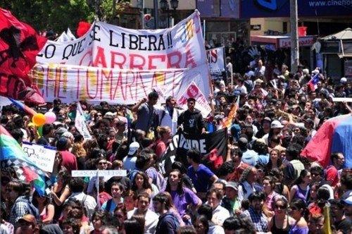 La protesta estudiantil de Chile se planta en el Congreso