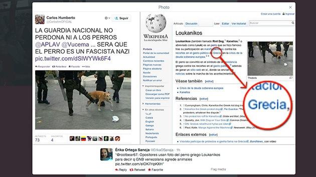 Venezuela: La oposición airea la foto de un perro griego pateado para acusar a la policía