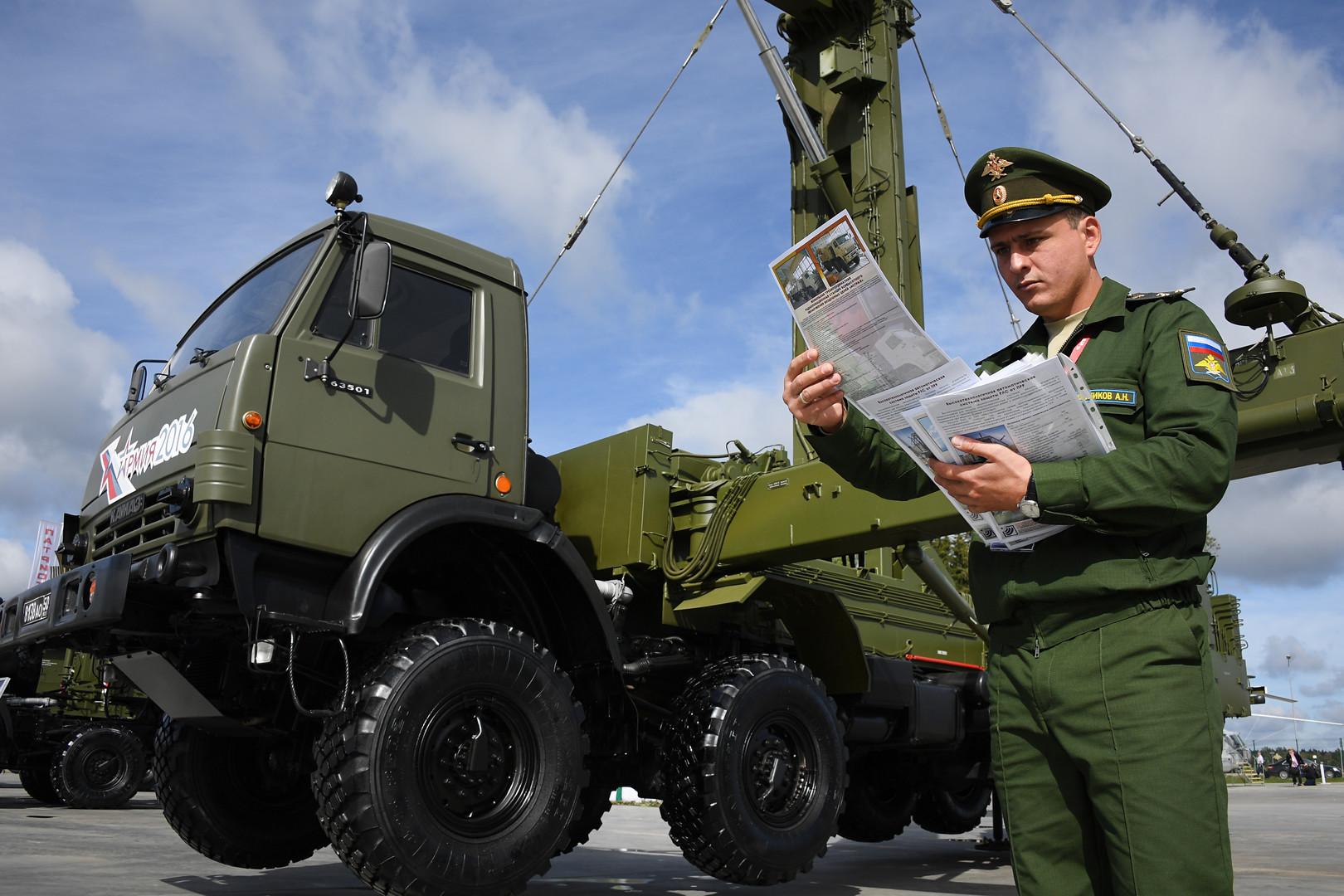 Мобильная трехкоординатная РЛС малых высот кругового обзора боевого режима межвидового применения «Подлёт-К1» представлена в открытой экспозиции на Международном военно-техническом форуме «Армия-2016».