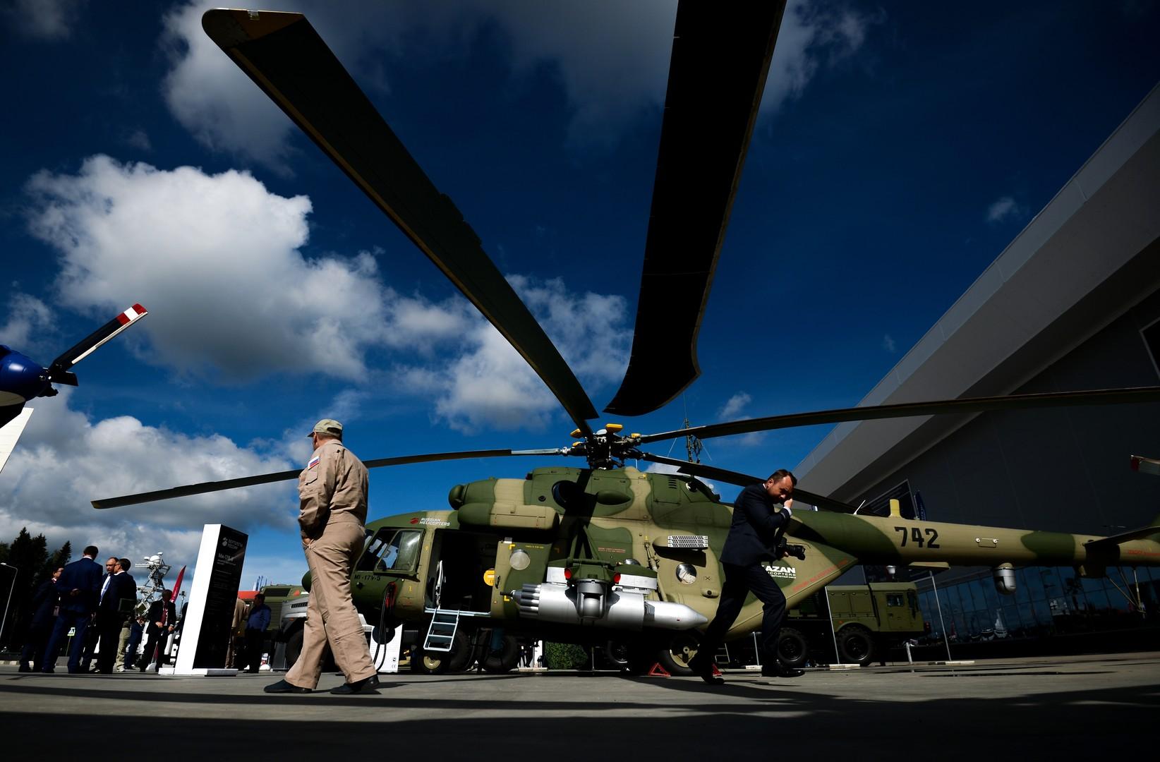 Многоцелевой вертолёт Mи-17В-5 представлен в открытой экспозиции на Международном военно-техническом форуме «Армия-2016» в конгрессно-выставочном центре подмосковного Военно-патриотического парка культуры и отдыха Вооруженных сил РФ «Патриот» .