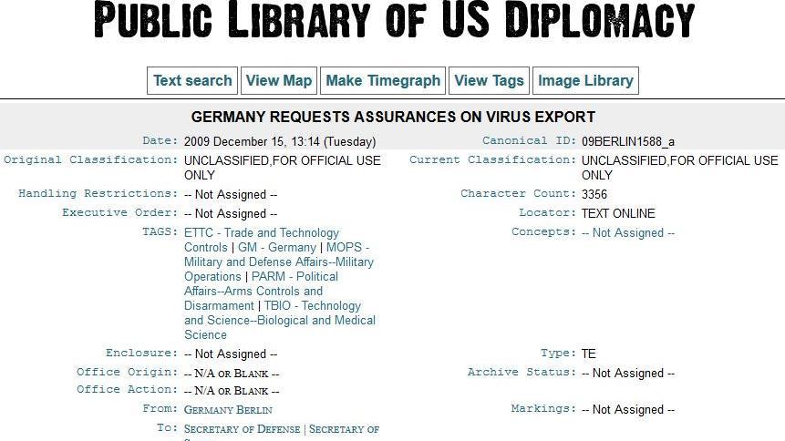 Wikileaks: Exportierte Deutschland Ebolaviren an die USA?