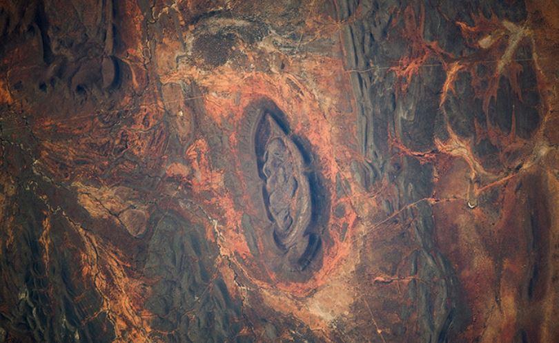 Die Wüste Namib in Westafrika von der ISS aus gesehen - Quelle: artemjew.ru