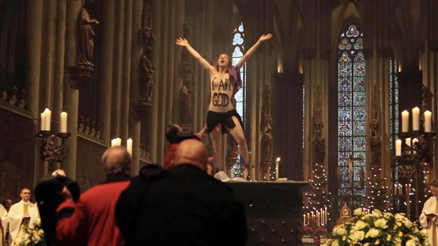 Russische Zustände? Femen-Aktivistin drohen 3 Jahre Haft wegen Nacktauftritt im Kölner Dom