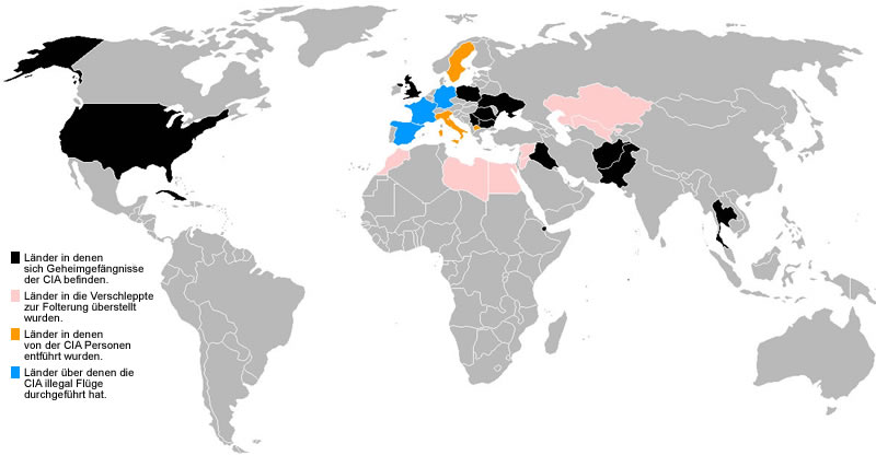 CIA: Lage von Gefängnissen (Public Domain)