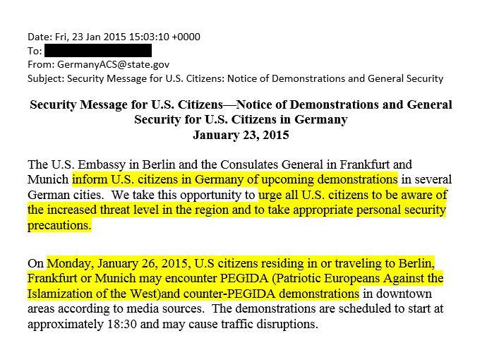"""USA warnt US-Bürger vor """"erhöhtem Gefahrengrad durch PEGIDA-Demonstrationen"""""""