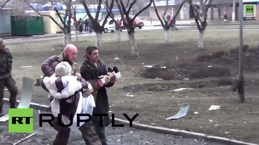Dramatische Bilder vom heutigen Beschuss eines Krankenhauses in Donezk