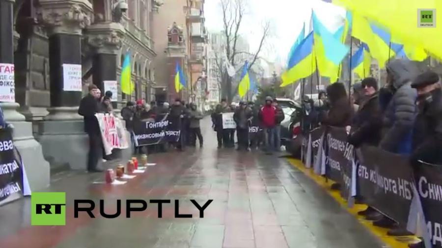 LIVE: Zweiter Tag des Protests vor der Nationalbank gegen Kiews Wirtschaftspolitik