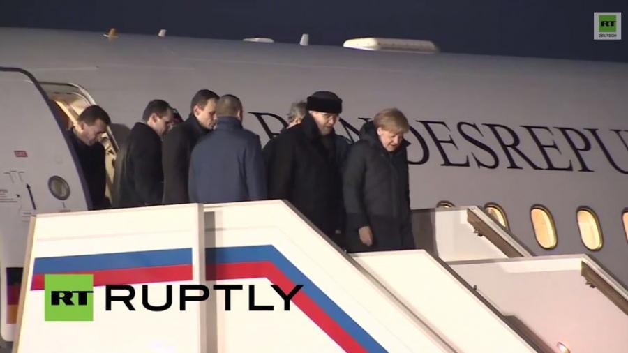 Merkel und Hollande treffen in Moskau für Ukraine-Gespräch ein