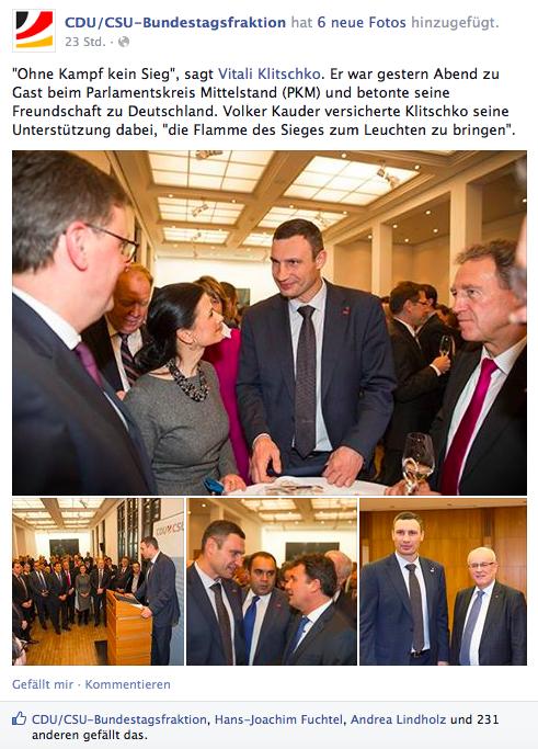 """CDU-Bundestagsfraktion: """"Flamme des Sieges"""" für Ukraine und Klitschko"""