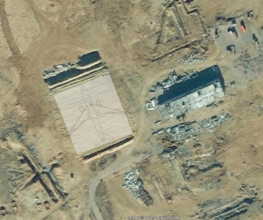CNN-Experte Wise versucht mit dem Umriss einer Boeing 777 auf dem Landeplaz in Baikonur seine These zu untermauern