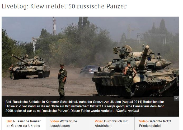 """ZDF belegt mal wieder """"russische Invasion"""" mit Bildern von georgischen Panzern aus dem Jahr 2009"""