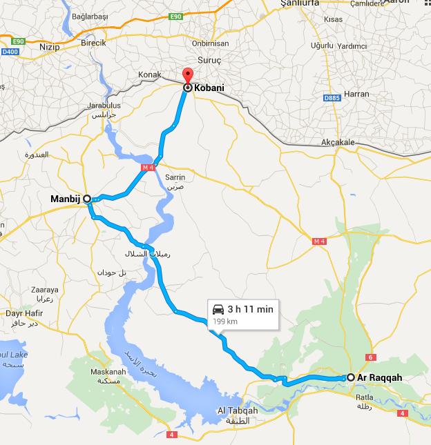 """Eine Landkarte von Syrien, die die Strecke von Kobane via Manbidsch nach Rakka, der inoffiziellen Hauptstadt des """"IS"""", anzeigt."""