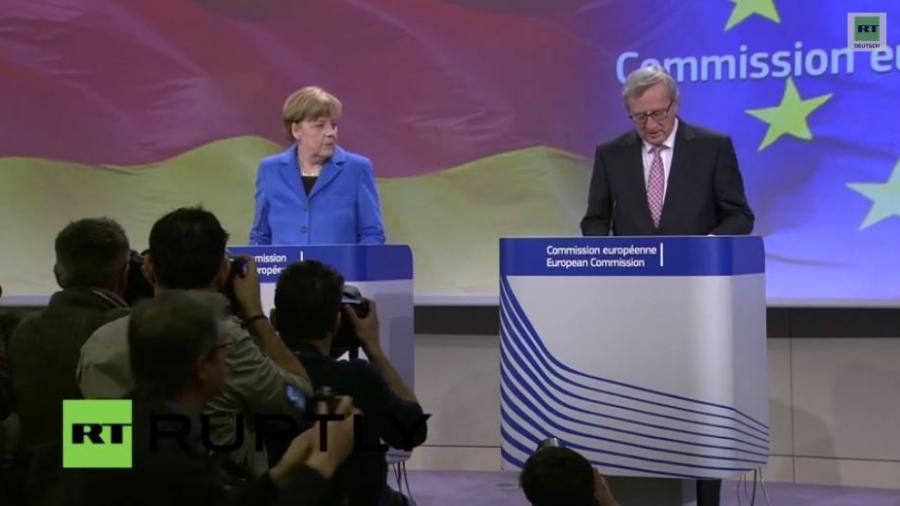 EU Kommissionstreffen: Merkel und Juncker geben Pressekonferenz